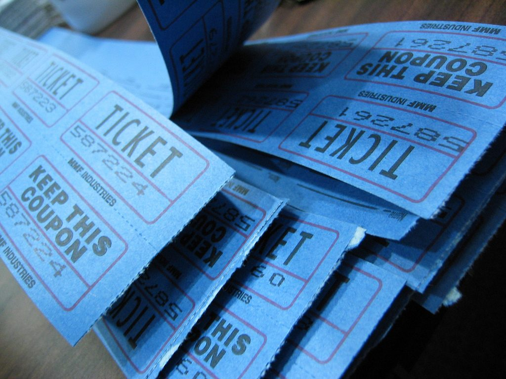 classic blue raffle tickets for trade show booth games