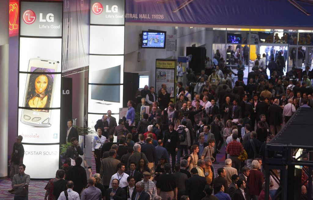The LG booth at CES, one of the top trade shows on our list.
