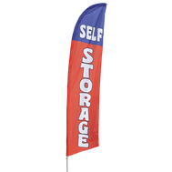 "Our ""SELF STORAGE"" bowflag features a message in a blue, red and white color scheme - perfect for advertising your storage unit facility"