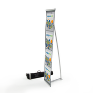 Roll Out Brochure Holder Deluxe with 4 Pockets