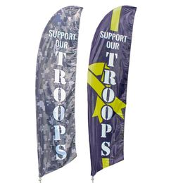 Support Our Troops Feather Flag