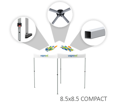 Compact tents feature square aluminum legs with triangular feet and no-pinch height-adjustment levers