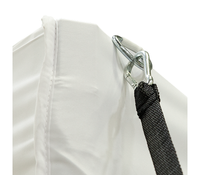 Carabincer on tie-down makes it very easy to attach to structures like tent canopies
