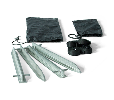 Kit comes with 4 super strong steel stakes, 4 tie-downs and 2 carry bags