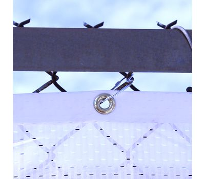 Attached your banner to a chain link fence using Pear Snap Hook accessories