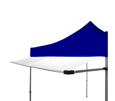 Our white tent awning attached to one of our blue stock tents