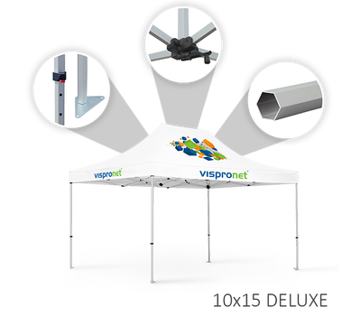 Our 10 x 15 tent offered in the Deluxe style