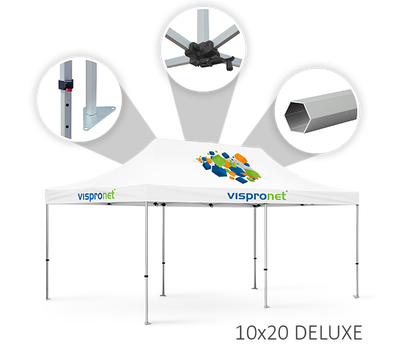 Our 10 x 20 event tent, offered in the Deluxe style