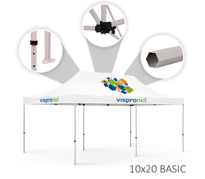 Our 10 x 20 event tent, offered in the Basic style.