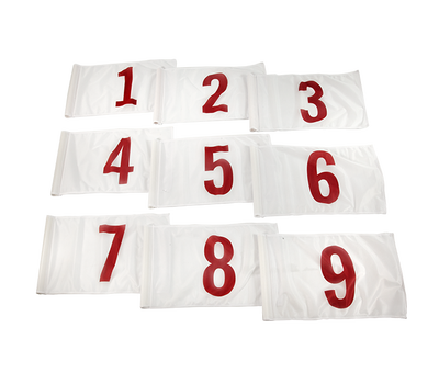 Red numbers 1-9 on white background
