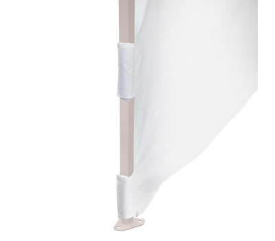 Hook-and-loop fasteners on walls are wrapped around the tent leg