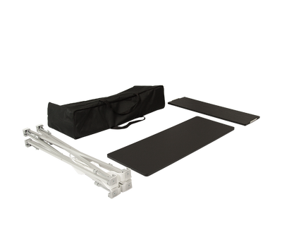 Hardware includes collapsible frame, shelf, counter top and carry bag