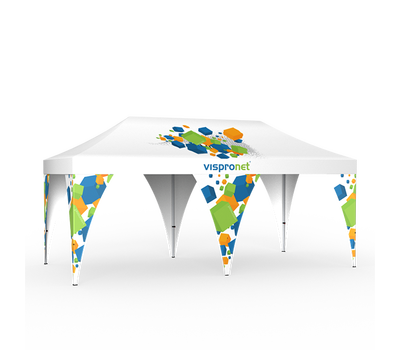 Up to four leg banners can be added to a small or medium pop up tent, while six can be added to large tents