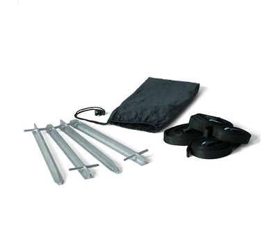 Kit comes with 4 strong steel stakes, 4 tie-downs and carry bag