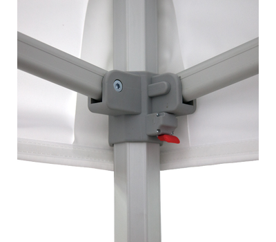 Canopy fits snug on corners connecting to the frame with hook fastener
