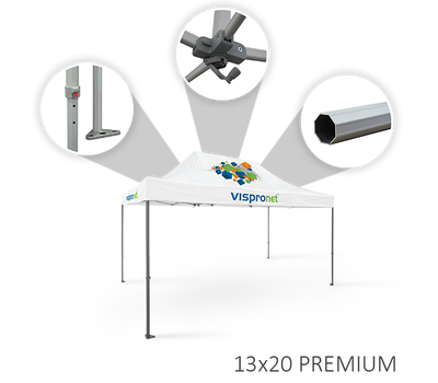 Premium frame features height-adjustable aluminum octagonal legs with steel feet and rooftop crank
