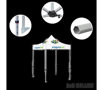 Deluxe frame features height-adjustable aluminum hexagonal legs and rooftop crank.