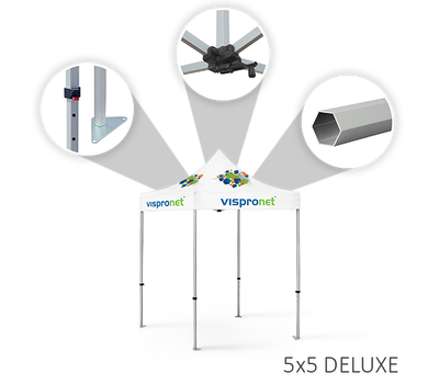 Deluxe tent frames include height-adjustable legs and rooftop crank