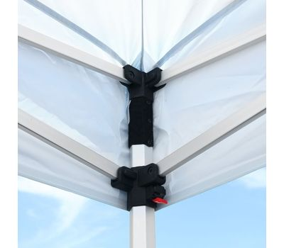 Hook-and-loop fastener allows the valance corners to fit securely but makes it easy to remove canopy for storage