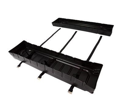 The 2-part trolley features hook-and-loop tape to secure items inside