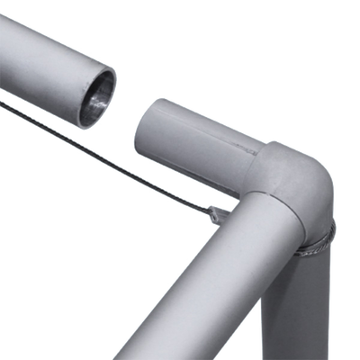 Poles are inserted into the connectors when assembled