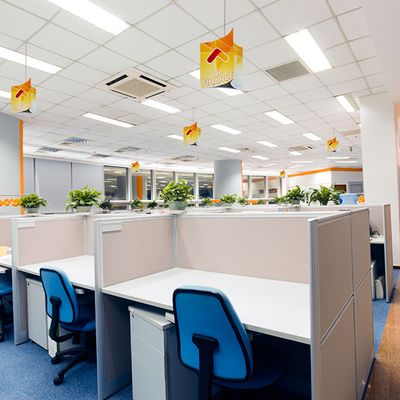 Easily attach Hanging Signs to drop ceilings in offices and other indoor settings