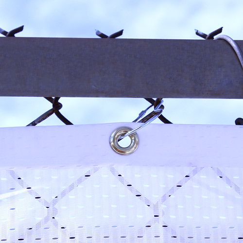 Attach your banner to a chain link fence using Pear Snap Hook accessories