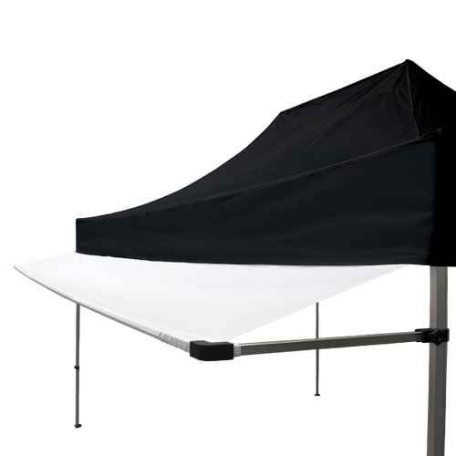 Our white tent awning attached to one of our black stock tents