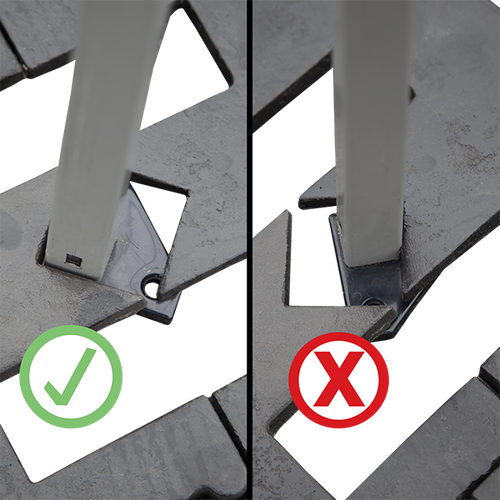 When using with round base plates - place the back (not the side) of the tent leg against the corner of the opening