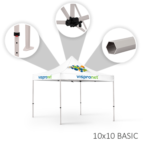 Our 10 x 20 stock event tent, offered in the Basic style