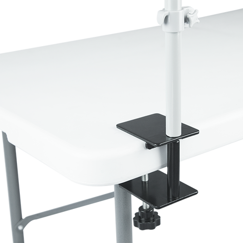 Table clamp is adjustable to fit the table perfectly