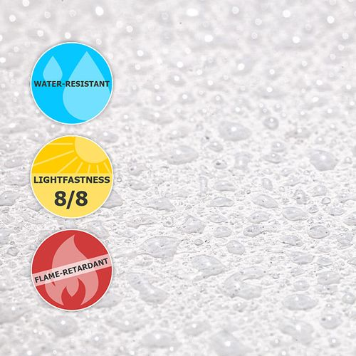 Our products are printed on a water-resistant woven polyester fabric that offers excellent lightfastness