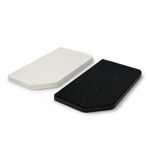 Tabletops are available in white and black wood-grain finish