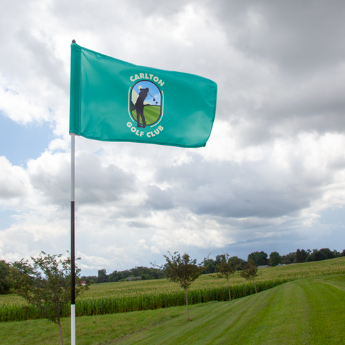 Custom golf flags rotate freely around the flagstick