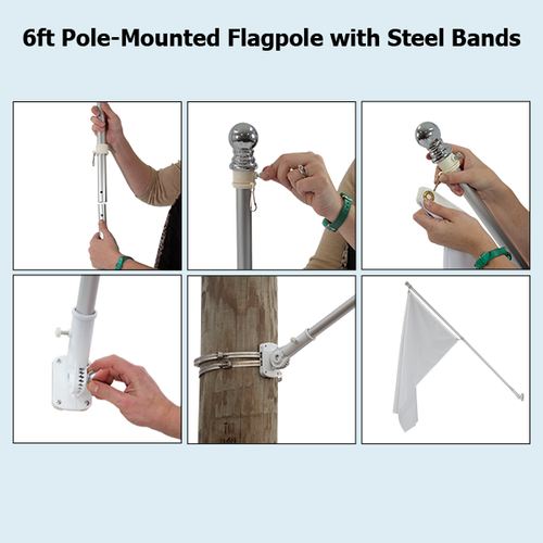 Pole-mounted hardware comes with the adjustable mount and 2 steel bands