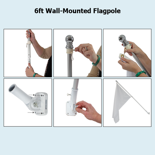 Wall-mounted flagpole hardware can be adjusted up or down