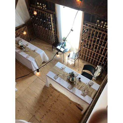 Top view of tablecloths at a wedding