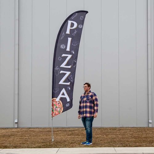 What one of the stock pizza banners looks like when set up