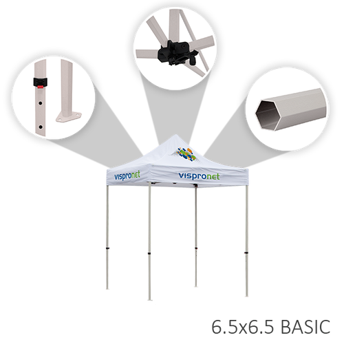 Basic event tent includes adjustable heights, a crank for the peak, and strong steel material