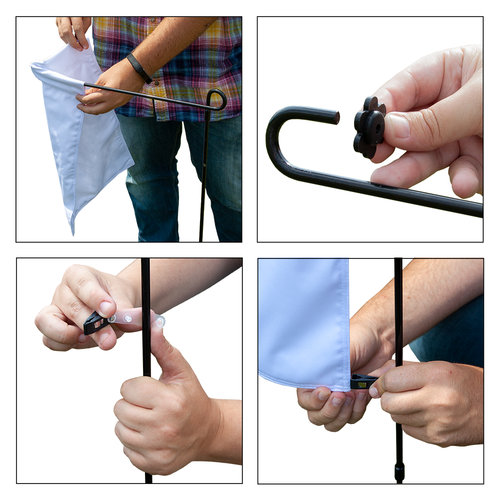 Placing the flag onto the hardware is easy and quick