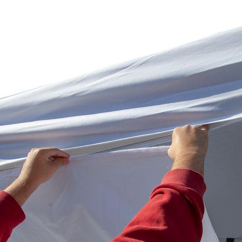 Easily attaches to the bottom of a tent canopy