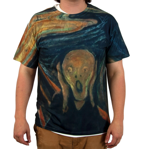 "Our All Over Print T-Shirt with ""The Scream"" sublimated onto the fabric"