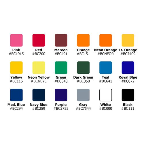 Choose from many stock colors