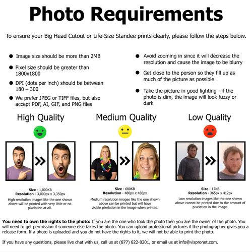 Cardboard cutout photo requirements