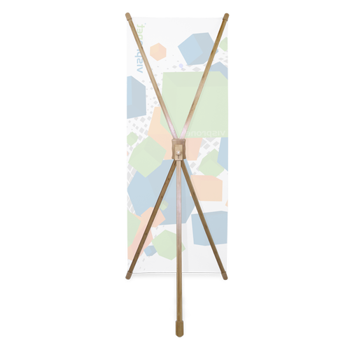 The unique X shape holds the banner in place