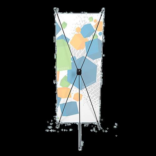 5 black Fiberglass Poles create the X-display system