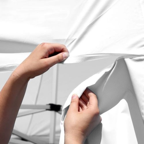 Items such as awnings can be attached to our walls using the included hook-and-loop fastener