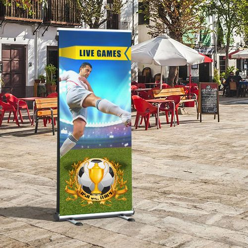 The outdoor banner stand is made for short term outdoor usage