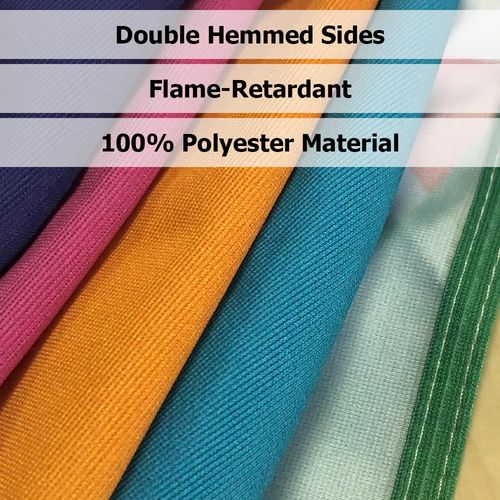 Our table throws are flame-retardant and made of 100% premium polyester fabric with hemmed sides