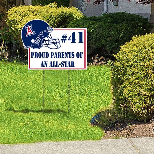 Proud of your star player or team? Showcase your fandom with a uniquely cut custom lawn sign